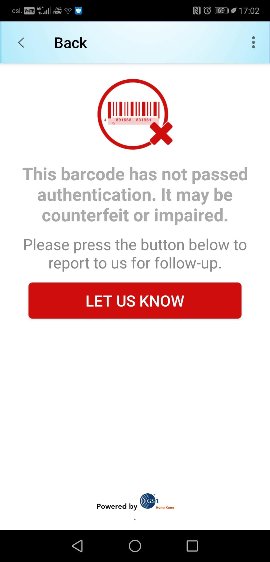 REAL Barcode app can detect fake items immediately after scanning (right image), and consumers can notify the brand via email. At the same time, brand owners will be alerted and receive the location and other information of the counterfeits.