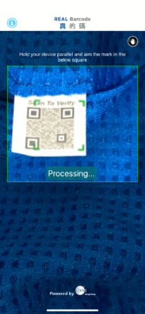 "Consumers can verify whether a product is genuine simply by scanning the REAL QR Code with ""REAL Barcode"" mobile app."